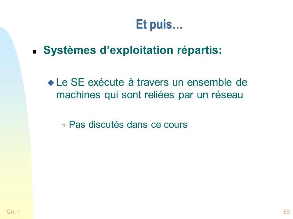 Ch. 159 Et puis… n Systèmes dexploitation répartis: u Le SE exécute à travers un ensemble de machines qui sont reliées par un réseau F Pas discutés da