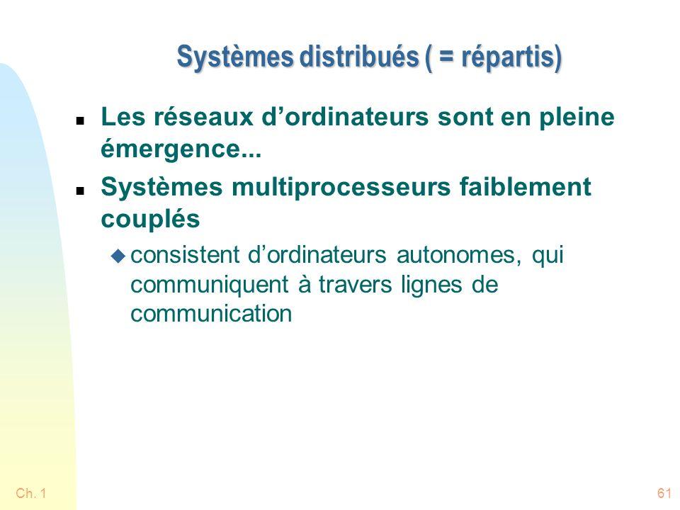 Ch. 161 Systèmes distribués ( = répartis) n Les réseaux dordinateurs sont en pleine émergence... n Systèmes multiprocesseurs faiblement couplés u cons