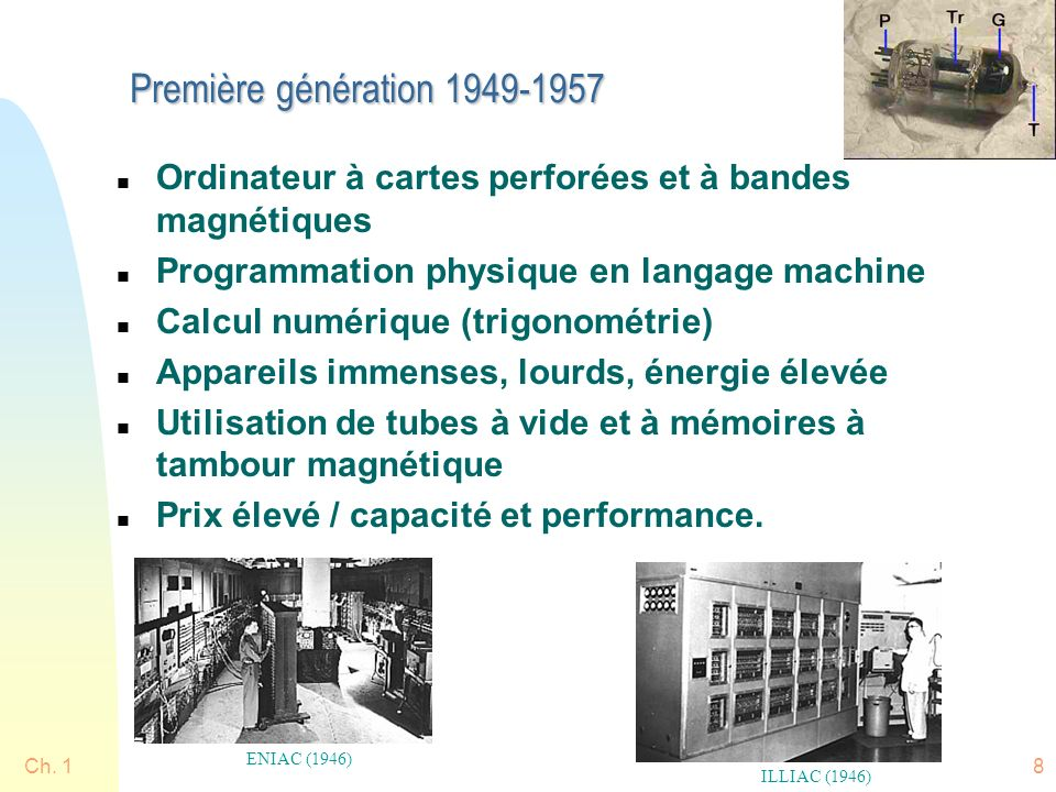 Ch. 18 Première génération 1949-1957 n Ordinateur à cartes perforées et à bandes magnétiques n Programmation physique en langage machine n Calcul numé