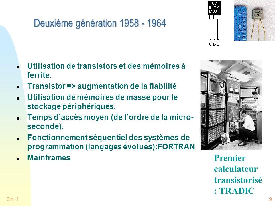 Ch. 19 Deuxième génération 1958 - 1964 n Utilisation de transistors et des mémoires à ferrite. n Transistor => augmentation de la fiabilité n Utilisat
