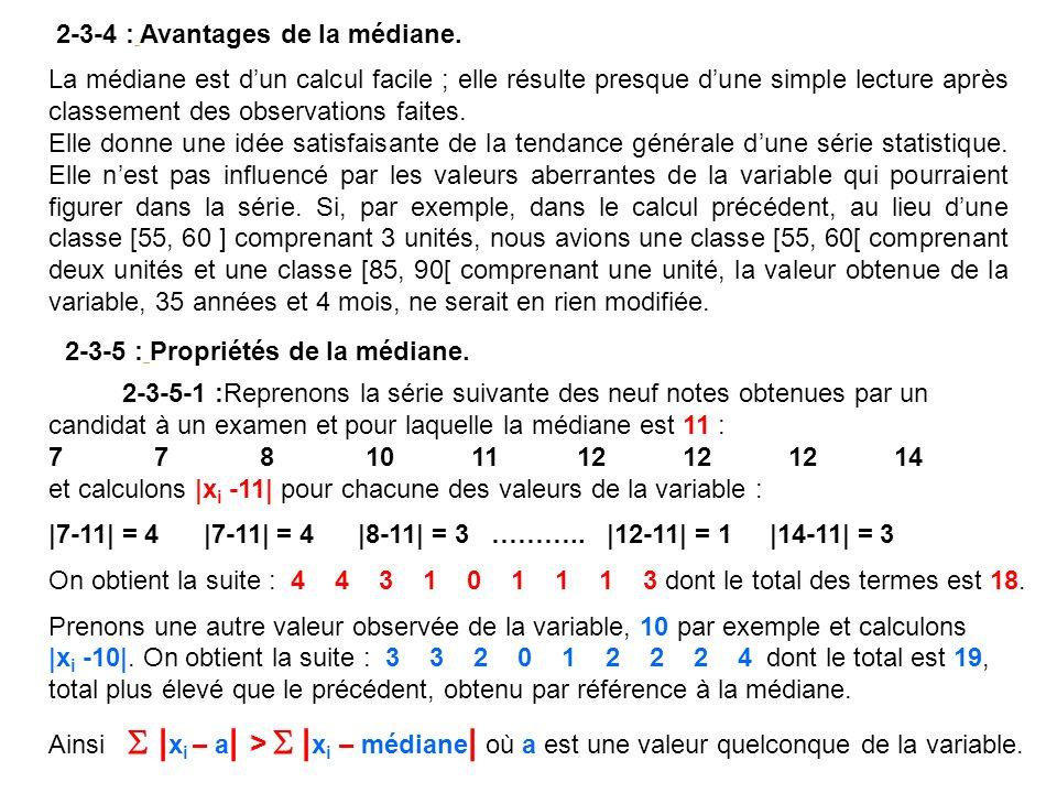 9 27 36 45 18 9 33 0 5 10 15 20 25 30 35 40 45 50 [20 - 25[[25 - 30[[30 - 35[[35 - 40[[40 - 45[[45 - 50[[50 - 55[[55 - 60[ Age Effectifs n i En statistique la valeur absolue de la différence entre deux nombres sappelle lécart des deux nombres, nous énoncerons alors la propriété suivante de la médiane propriété que nous ne démontrerons pas mais quil est aisé de vérifier.