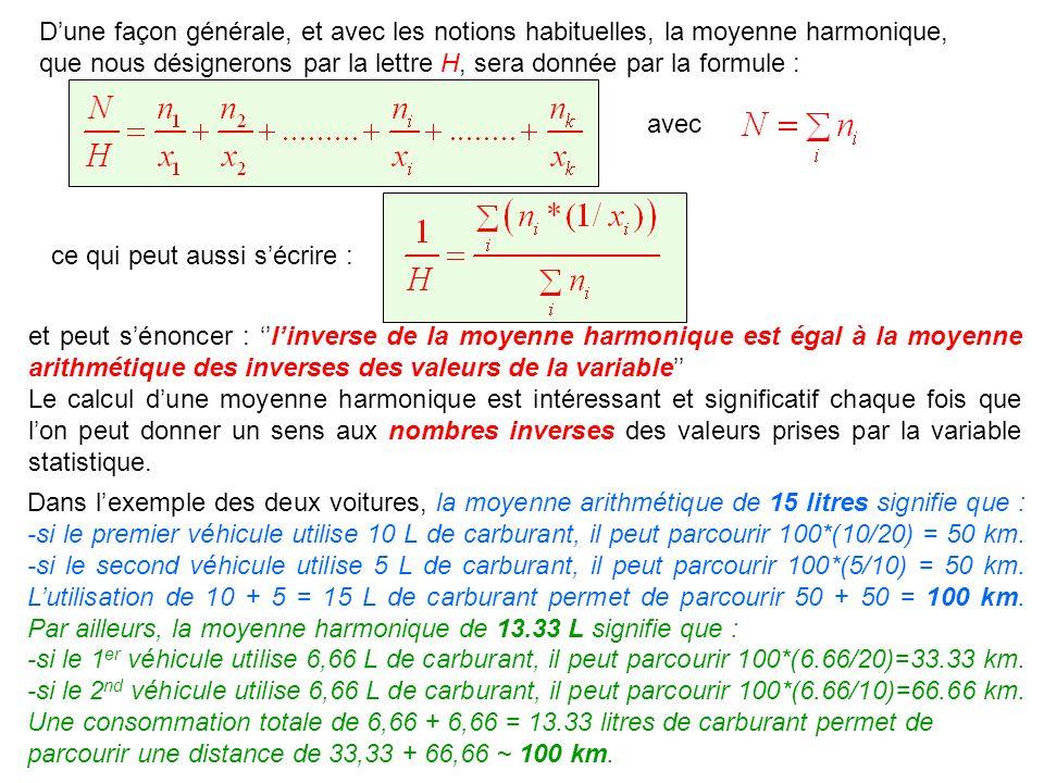 Dune façon générale, et avec les notions habituelles, la moyenne harmonique, que nous désignerons par la lettre H, sera donnée par la formule : et peu