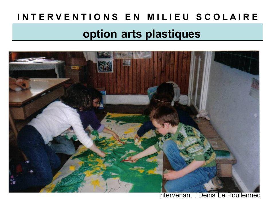 I N T E R V E N T I O N S E N M I L I E U S C O L A I R E option arts plastiques Intervenant : Denis Le Poullennec