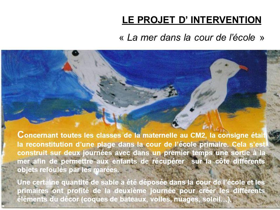 LE PROJET D INTERVENTION « La mer dans la cour de lécole » C oncernant toutes les classes de la maternelle au CM2, la consigne était la reconstitution