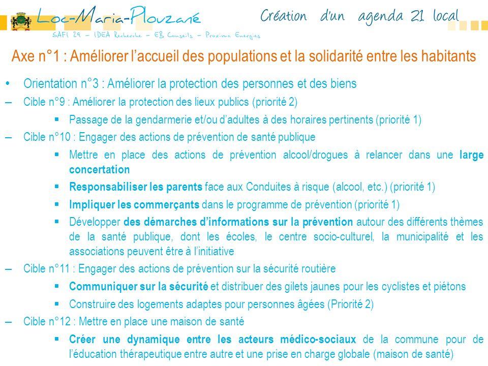 Axe n°1 : Améliorer laccueil des populations et la solidarité entre les habitants Orientation n°3 : Améliorer la protection des personnes et des biens