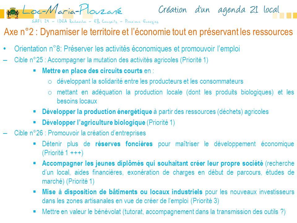 Axe n°2 : Dynamiser le territoire et léconomie tout en préservant les ressources Orientation n°8: Préserver les activités économiques et promouvoir le