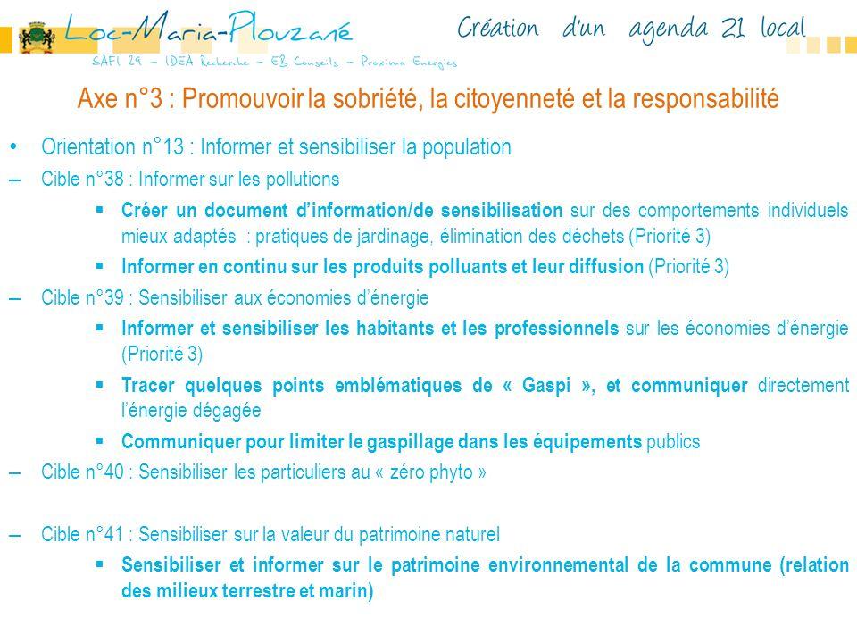 Axe n°3 : Promouvoir la sobriété, la citoyenneté et la responsabilité Orientation n°13 : Informer et sensibiliser la population – Cible n°38 : Informe