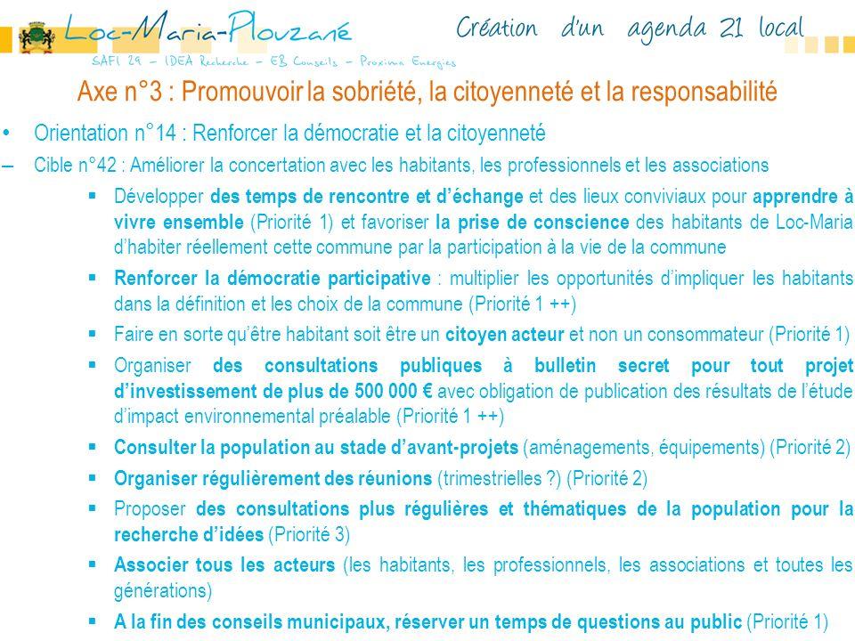 Axe n°3 : Promouvoir la sobriété, la citoyenneté et la responsabilité Orientation n°14 : Renforcer la démocratie et la citoyenneté – Cible n°42 : Amél