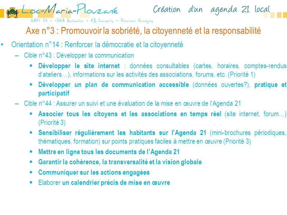 Axe n°3 : Promouvoir la sobriété, la citoyenneté et la responsabilité Orientation n°14 : Renforcer la démocratie et la citoyenneté – Cible n°43 : Déve