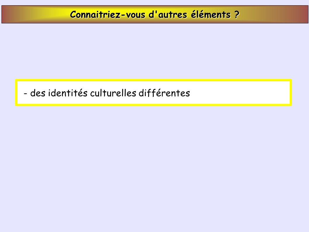 Connaitriez-vous d autres éléments - des identités culturelles différentes