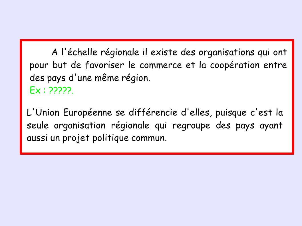 A l échelle régionale il existe des organisations qui ont pour but de favoriser le commerce et la coopération entre des pays d une même région.