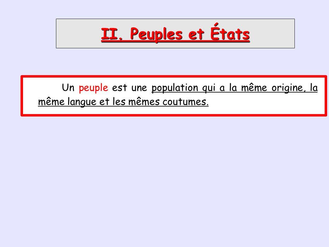 II. Peuples et États Un peuple est une population qui a la même origine, la même langue et les mêmes coutumes.