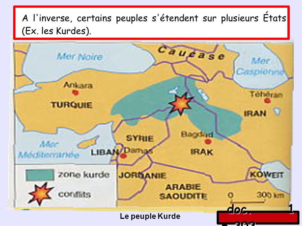 Le peuple Kurde A l inverse, certains peuples s étendent sur plusieurs États (Ex.