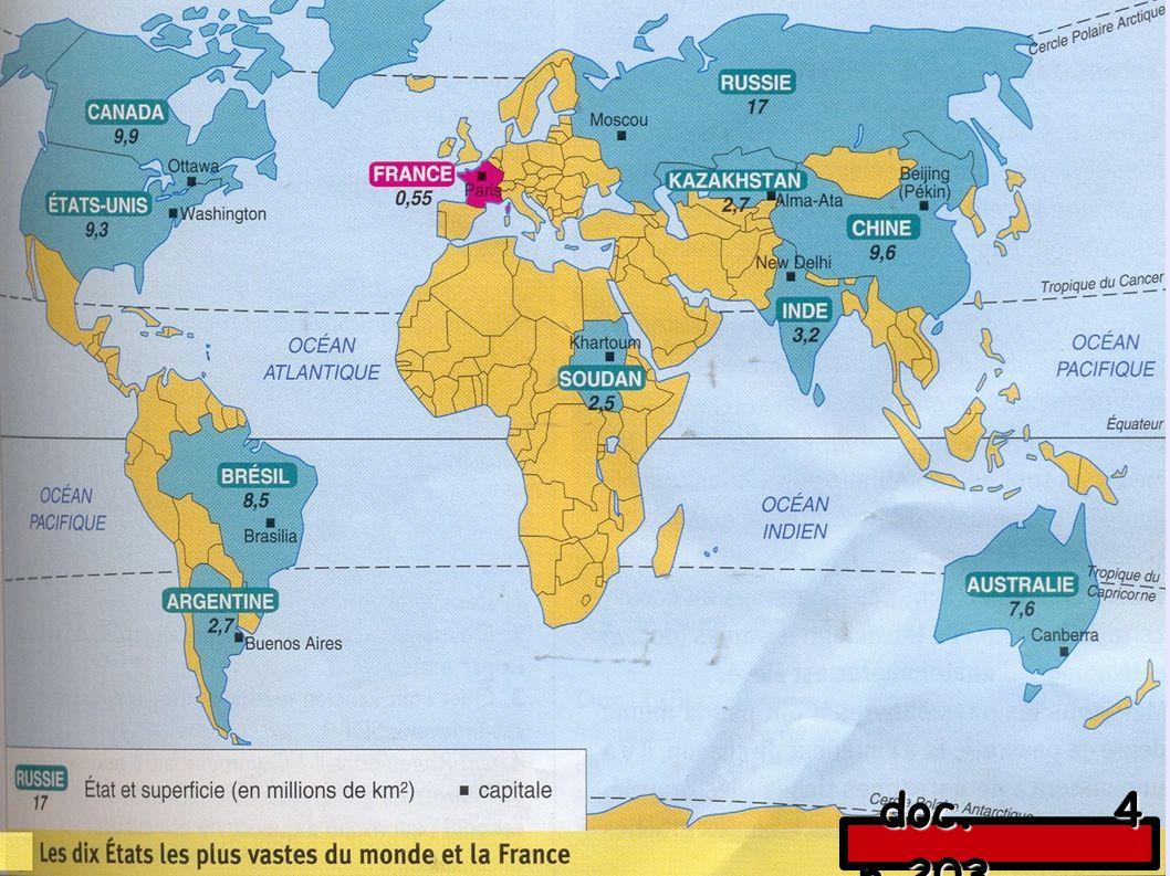 - la superficie : (étendue d un territoire en km²) les cinq plus grands États sont : la Russie, le Canada, la Chine, les États-Unis et le Brésil.