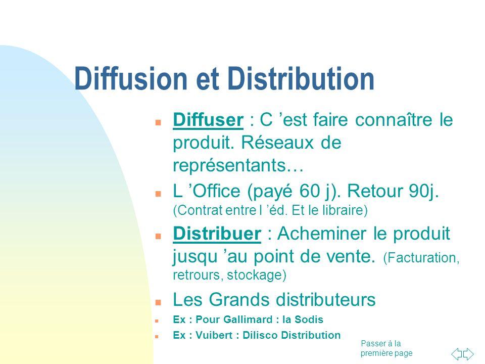 Passer à la première page Diffusion et Distribution Diffuser : C est faire connaître le produit. Réseaux de représentants… L Office (payé 60 j). Retou