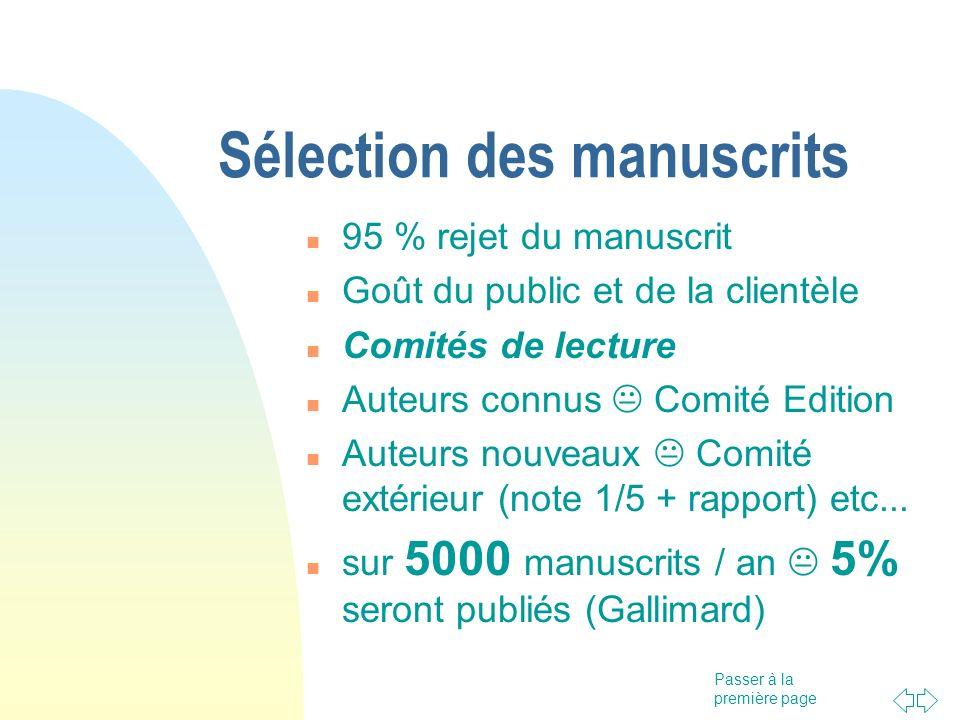 Passer à la première page Sélection des manuscrits 95 % rejet du manuscrit Goût du public et de la clientèle Comités de lecture Auteurs connus Comité
