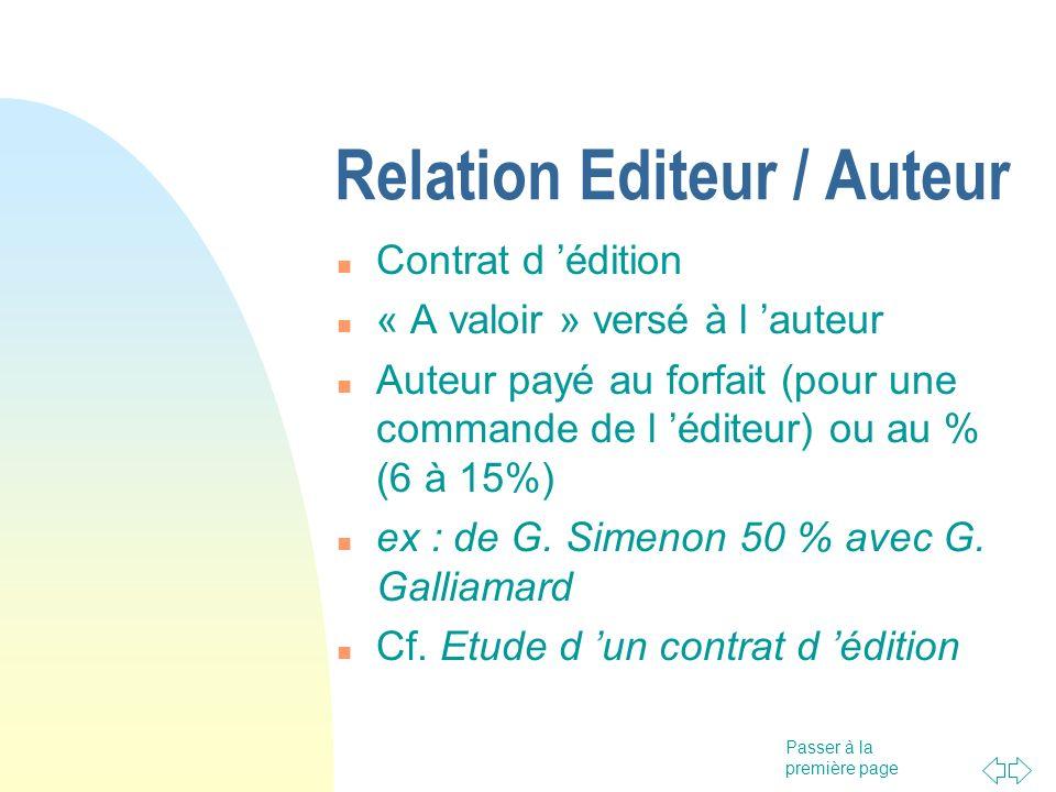 Passer à la première page Relation Editeur / Auteur Contrat d édition « A valoir » versé à l auteur Auteur payé au forfait (pour une commande de l édi