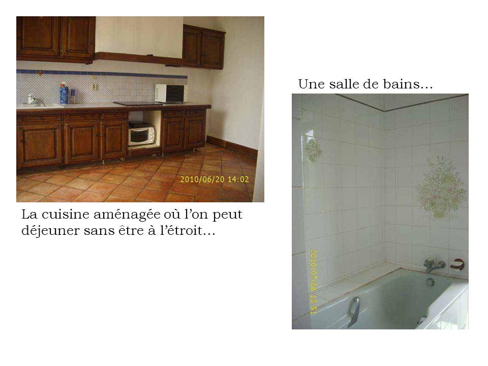 La cuisine aménagée où lon peut déjeuner sans être à létroit… Une salle de bains…