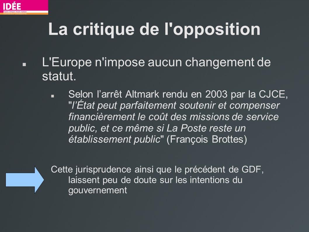La critique de l opposition L Europe n impose aucun changement de statut.