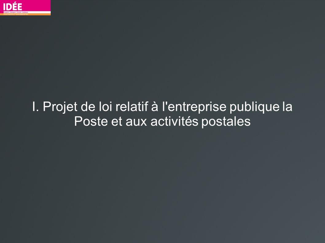 I. Projet de loi relatif à l entreprise publique la Poste et aux activités postales