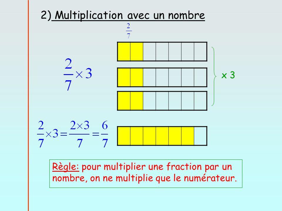 2) Multiplication avec un nombre x 3 Règle: pour multiplier une fraction par un nombre, on ne multiplie que le numérateur.