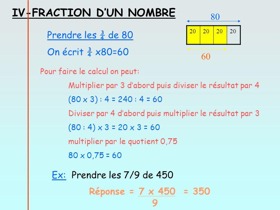 IV-FRACTION DUN NOMBRE Prendre les ¾ de 80 On écrit ¾ x80=60 20 80 60 Pour faire le calcul on peut: Multiplier par 3 dabord puis diviser le résultat par 4 (80 x 3) : 4 = 240 : 4 = 60 Diviser par 4 dabord puis multiplier le résultat par 3 (80 : 4) x 3 = 20 x 3 = 60 multiplier par le quotient 0,75 80 x 0,75 = 60 Ex: Prendre les 7/9 de 450 Réponse = 7 x 450 = 350 9