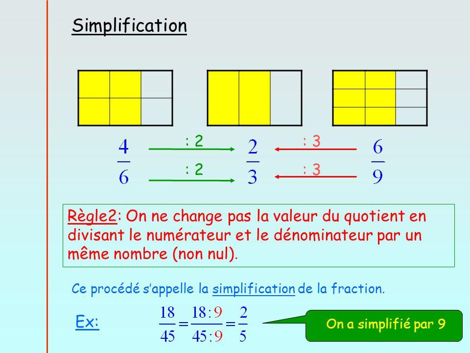 : 2 : 3 Règle2: On ne change pas la valeur du quotient en divisant le numérateur et le dénominateur par un même nombre (non nul).