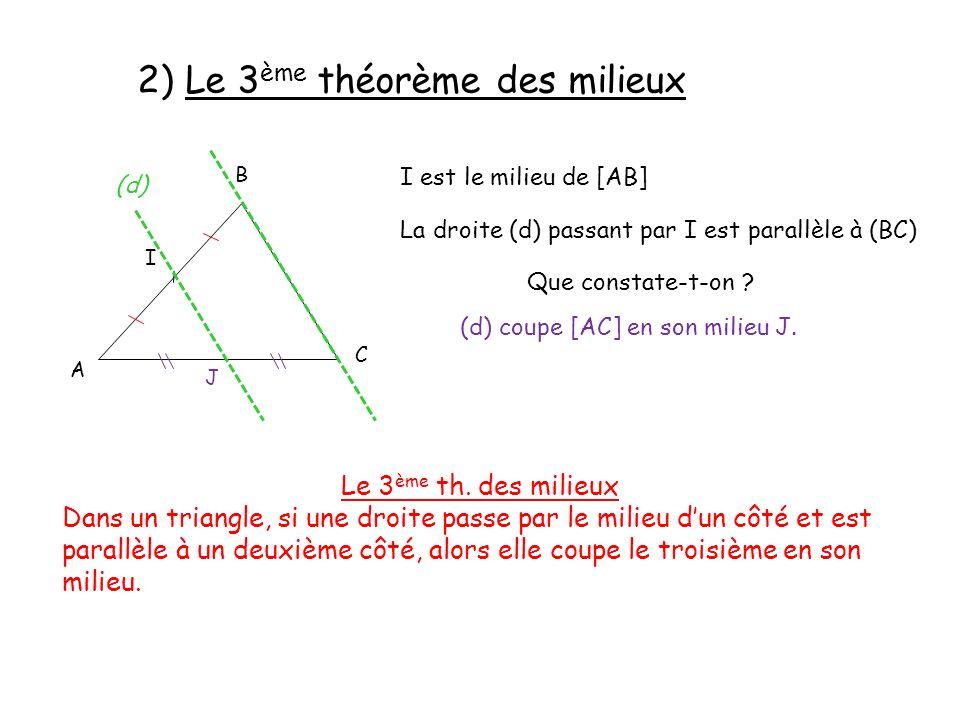 2) Le 3 ème théorème des milieux A B C I est le milieu de [AB] I La droite (d) passant par I est parallèle à (BC) (d) Que constate-t-on ? J (d) coupe
