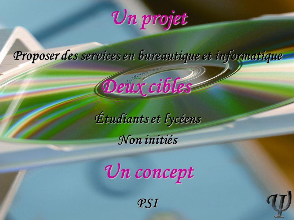 Proposer des services en bureautique et informatique Étudiants et lycéens Non initiés PSI Un projet Deux cibles Un concept