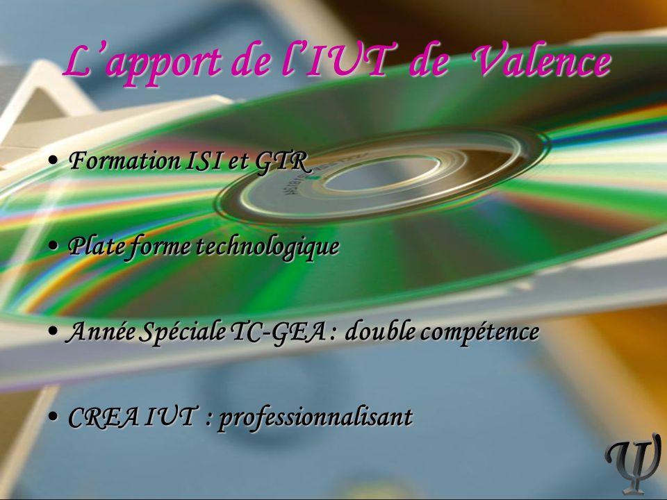 Lapport de lIUT de Valence Formation ISI et GTRFormation ISI et GTR Plate forme technologiquePlate forme technologique Année Spéciale TC-GEA : double