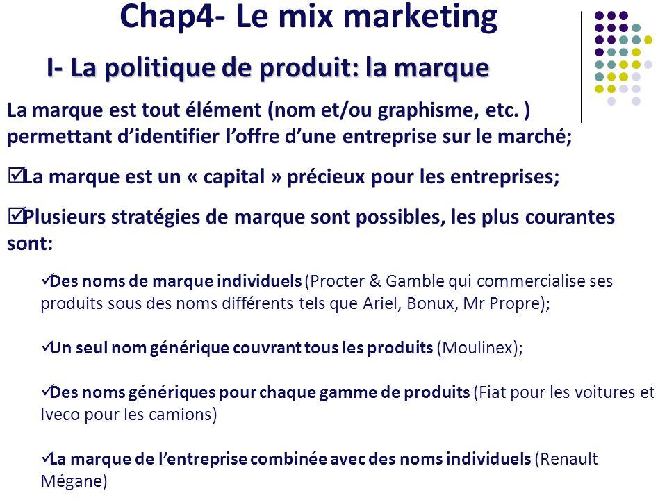 Chap4- Le mix marketing I- La politique de produit: la marque La marque est tout élément (nom et/ou graphisme, etc. ) permettant didentifier loffre du