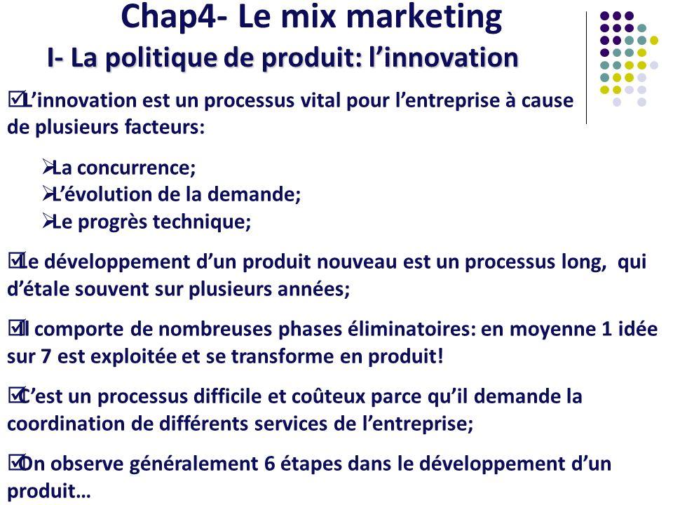 Chap4- Le mix marketing I- La politique de produit: linnovation Linnovation est un processus vital pour lentreprise à cause de plusieurs facteurs: La
