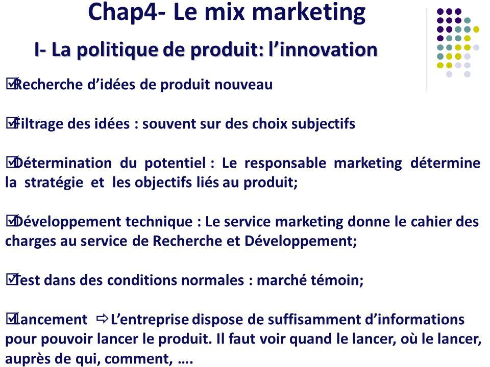 Chap4- Le mix marketing I- La politique de produit: linnovation Recherche didées de produit nouveau Filtrage des idées : souvent sur des choix subject