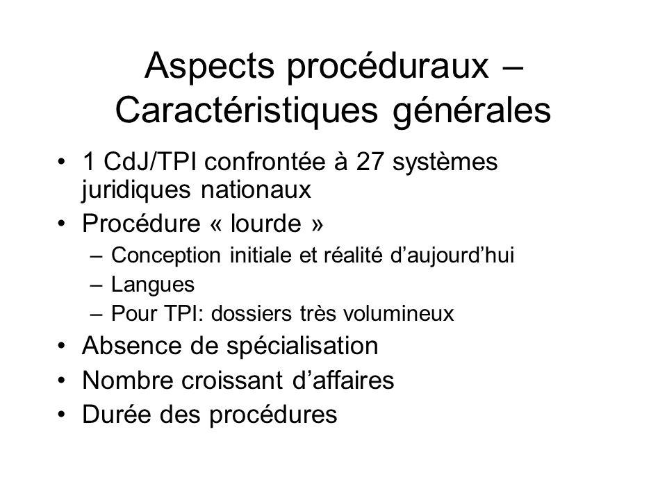 Aspects procéduraux – Caractéristiques générales 1 CdJ/TPI confrontée à 27 systèmes juridiques nationaux Procédure « lourde » –Conception initiale et