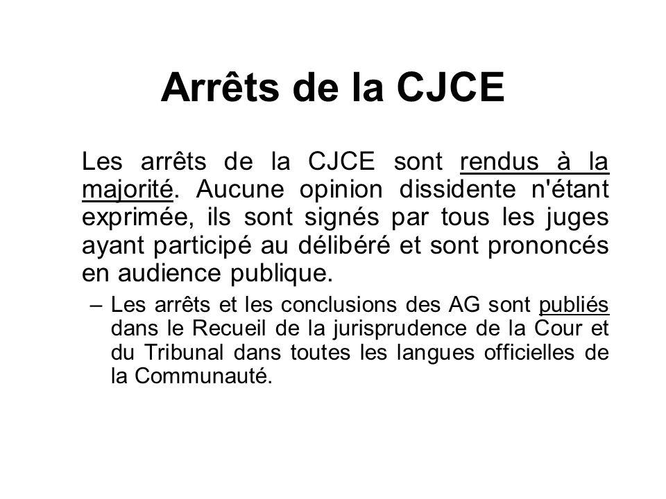 Arrêts de la CJCE Les arrêts de la CJCE sont rendus à la majorité. Aucune opinion dissidente n'étant exprimée, ils sont signés par tous les juges ayan