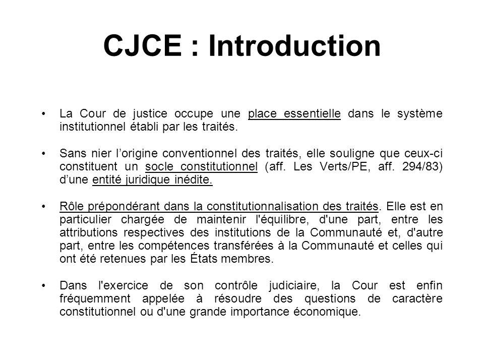 CJCE : Introduction La Cour de justice occupe une place essentielle dans le système institutionnel établi par les traités. Sans nier lorigine conventi