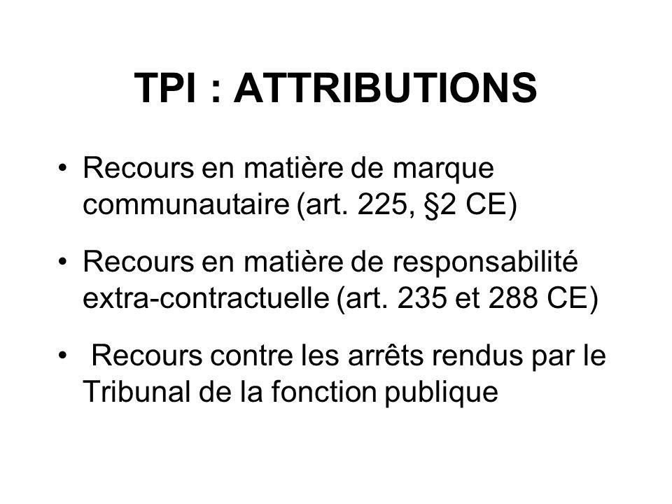 TPI : ATTRIBUTIONS Recours en matière de marque communautaire (art. 225, §2 CE) Recours en matière de responsabilité extra-contractuelle (art. 235 et