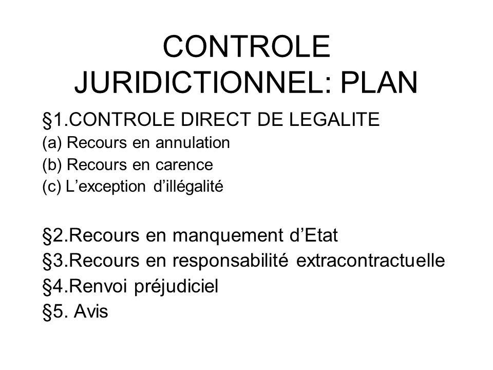 CONTROLE JURIDICTIONNEL: PLAN §1.CONTROLE DIRECT DE LEGALITE (a) Recours en annulation (b) Recours en carence (c) Lexception dillégalité §2.Recours en