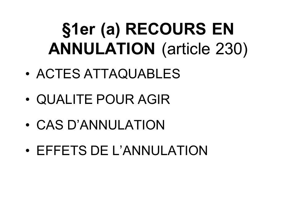 §1er (a) RECOURS EN ANNULATION (article 230) ACTES ATTAQUABLES QUALITE POUR AGIR CAS DANNULATION EFFETS DE LANNULATION
