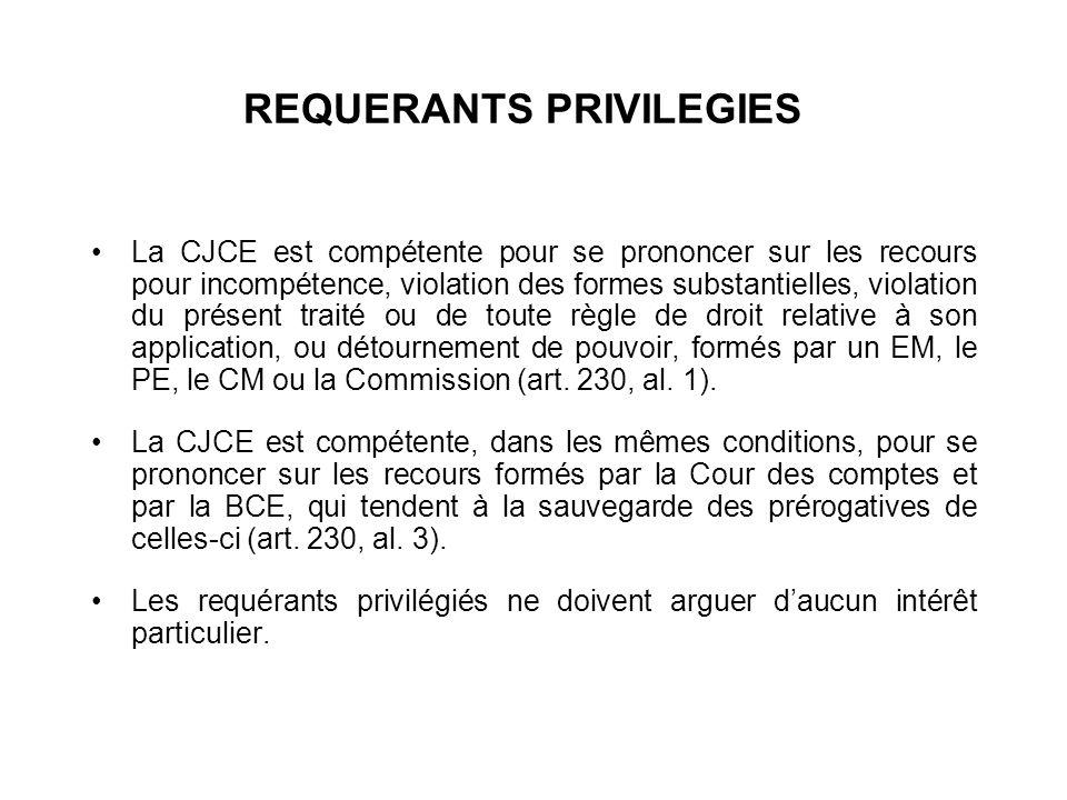 REQUERANTS PRIVILEGIES La CJCE est compétente pour se prononcer sur les recours pour incompétence, violation des formes substantielles, violation du p