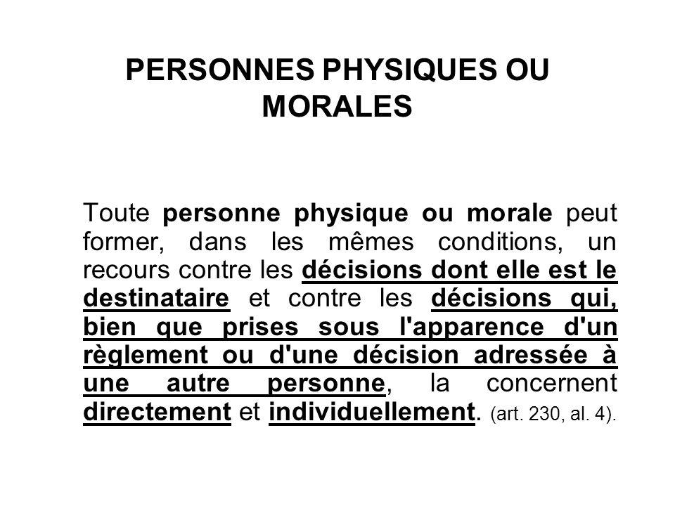 PERSONNES PHYSIQUES OU MORALES Toute personne physique ou morale peut former, dans les mêmes conditions, un recours contre les décisions dont elle est