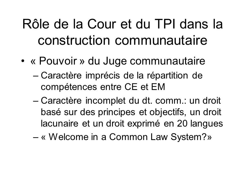 Rôle de la Cour et du TPI dans la construction communautaire « Pouvoir » du Juge communautaire –Caractère imprécis de la répartition de compétences en