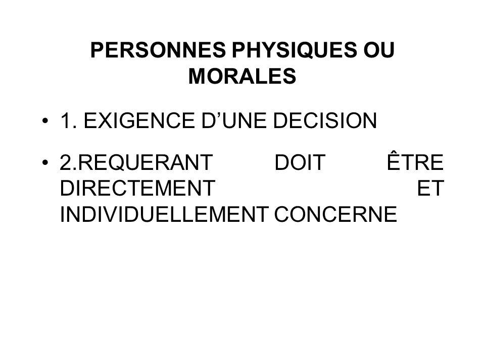PERSONNES PHYSIQUES OU MORALES 1. EXIGENCE DUNE DECISION 2.REQUERANT DOIT ÊTRE DIRECTEMENT ET INDIVIDUELLEMENT CONCERNE