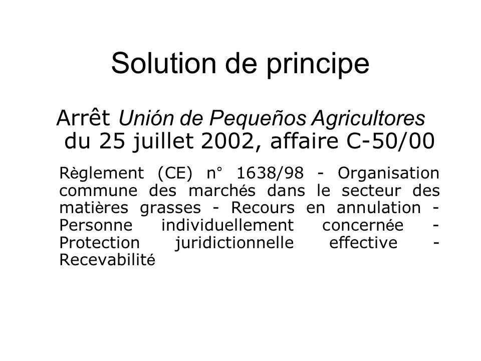 Solution de principe Arrêt Unión de Pequeños Agricultores du 25 juillet 2002, affaire C-50/00 R è glement (CE) n° 1638/98 - Organisation commune des m