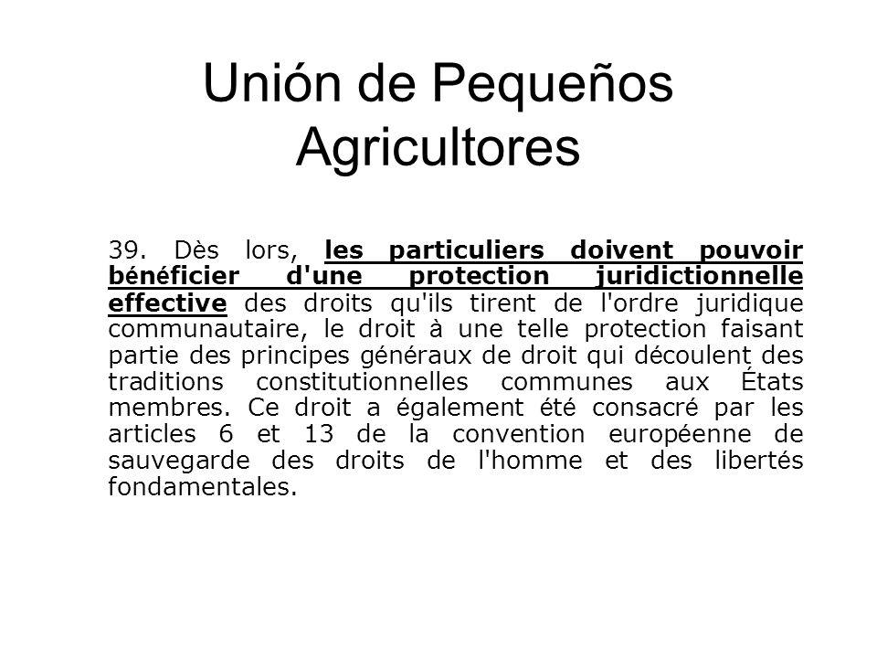 Unión de Pequeños Agricultores 39. D è s lors, les particuliers doivent pouvoir b é n é ficier d'une protection juridictionnelle effective des droits