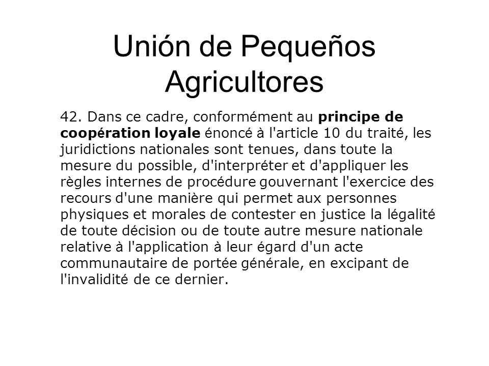 Unión de Pequeños Agricultores 42. Dans ce cadre, conform é ment au principe de coop é ration loyale é nonc é à l'article 10 du trait é, les juridicti