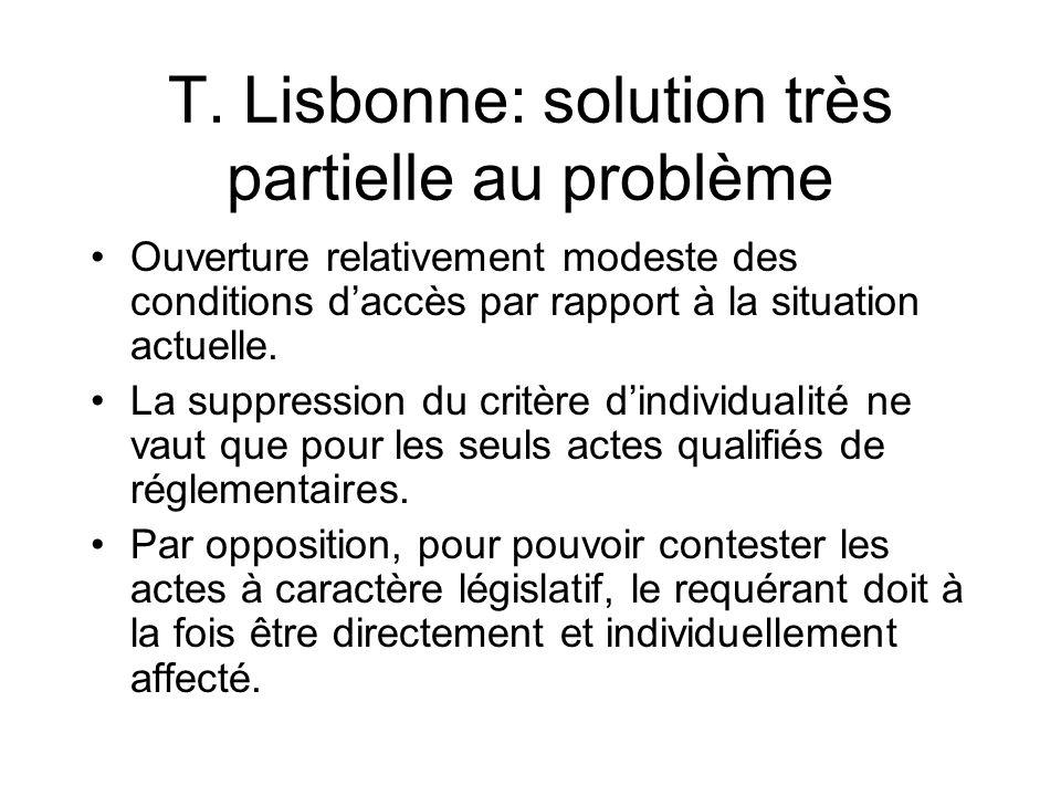 T. Lisbonne: solution très partielle au problème Ouverture relativement modeste des conditions daccès par rapport à la situation actuelle. La suppress