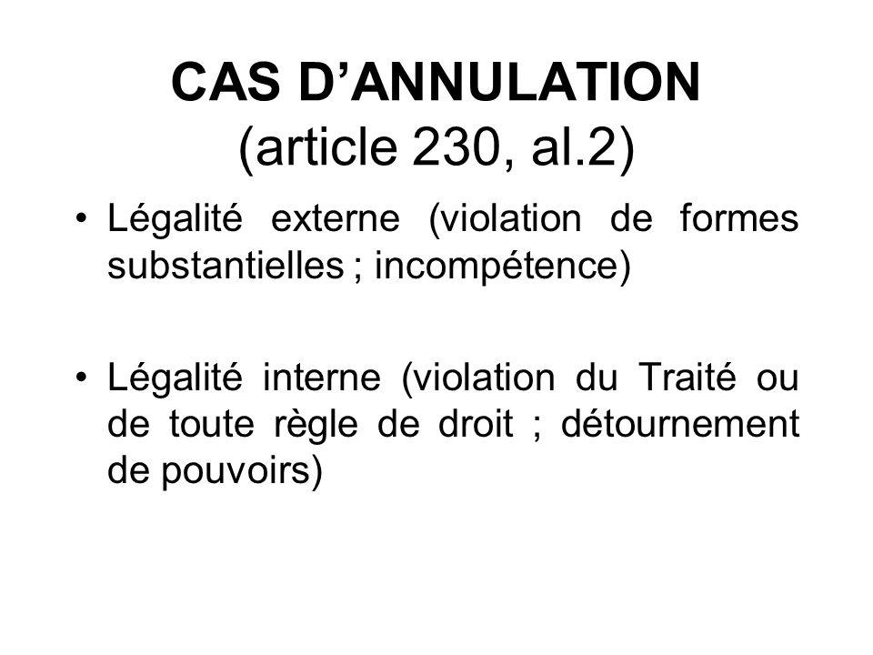 CAS DANNULATION (article 230, al.2) Légalité externe (violation de formes substantielles ; incompétence) Légalité interne (violation du Traité ou de t