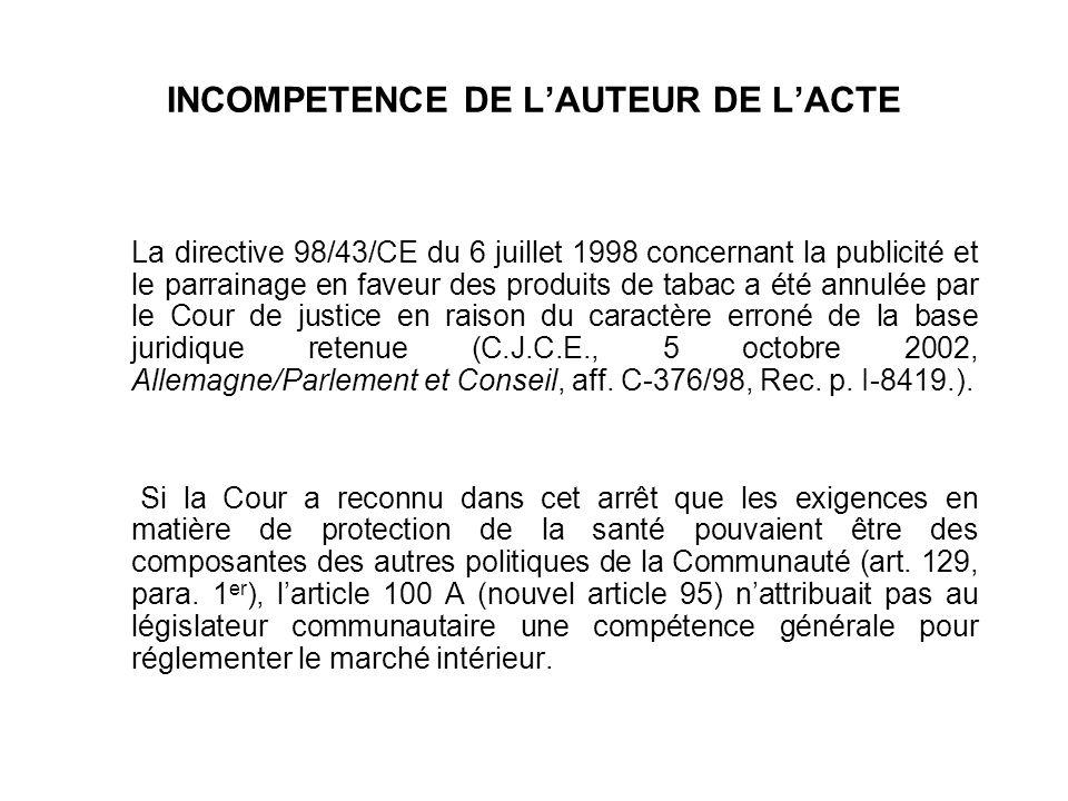 INCOMPETENCE DE LAUTEUR DE LACTE La directive 98/43/CE du 6 juillet 1998 concernant la publicité et le parrainage en faveur des produits de tabac a ét