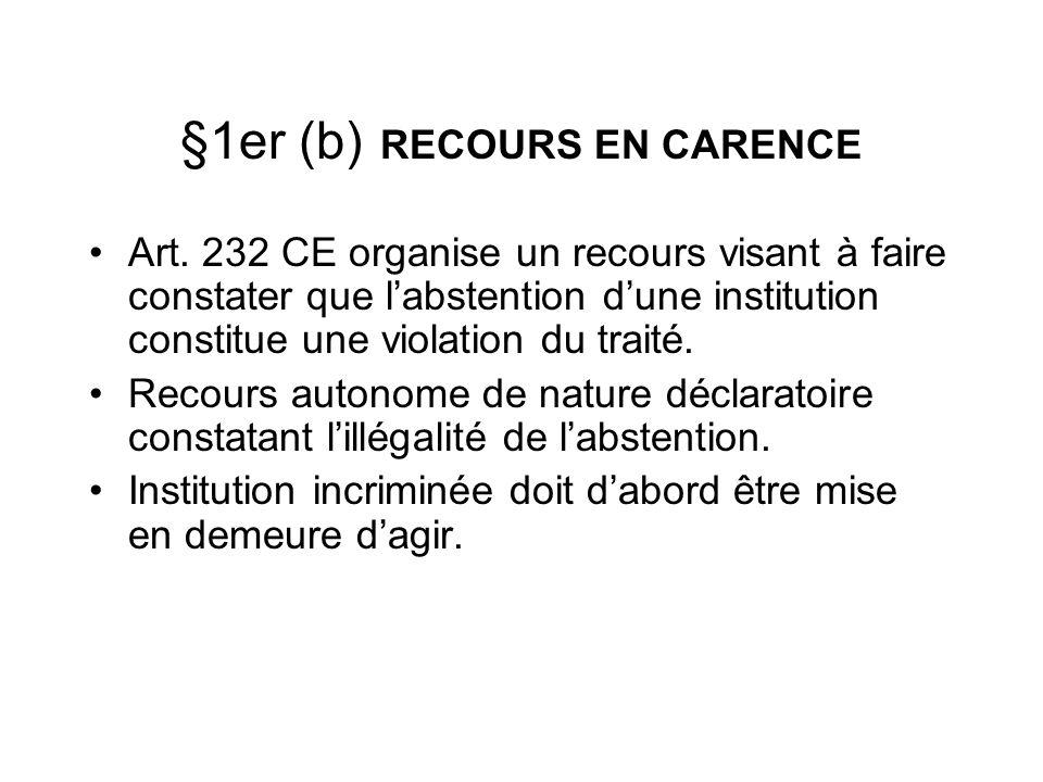 §1er (b) RECOURS EN CARENCE Art. 232 CE organise un recours visant à faire constater que labstention dune institution constitue une violation du trait